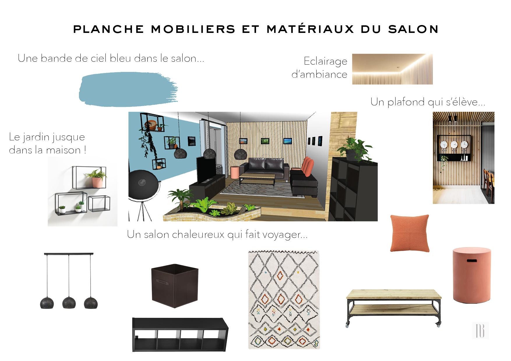 Nathalie Bossard décoration architecture intérieur Rennes 35 UFDI-390 Book déco maison individuelle Vern sur Seiche Ille et Vilaine planche mobiliers matériaux salon