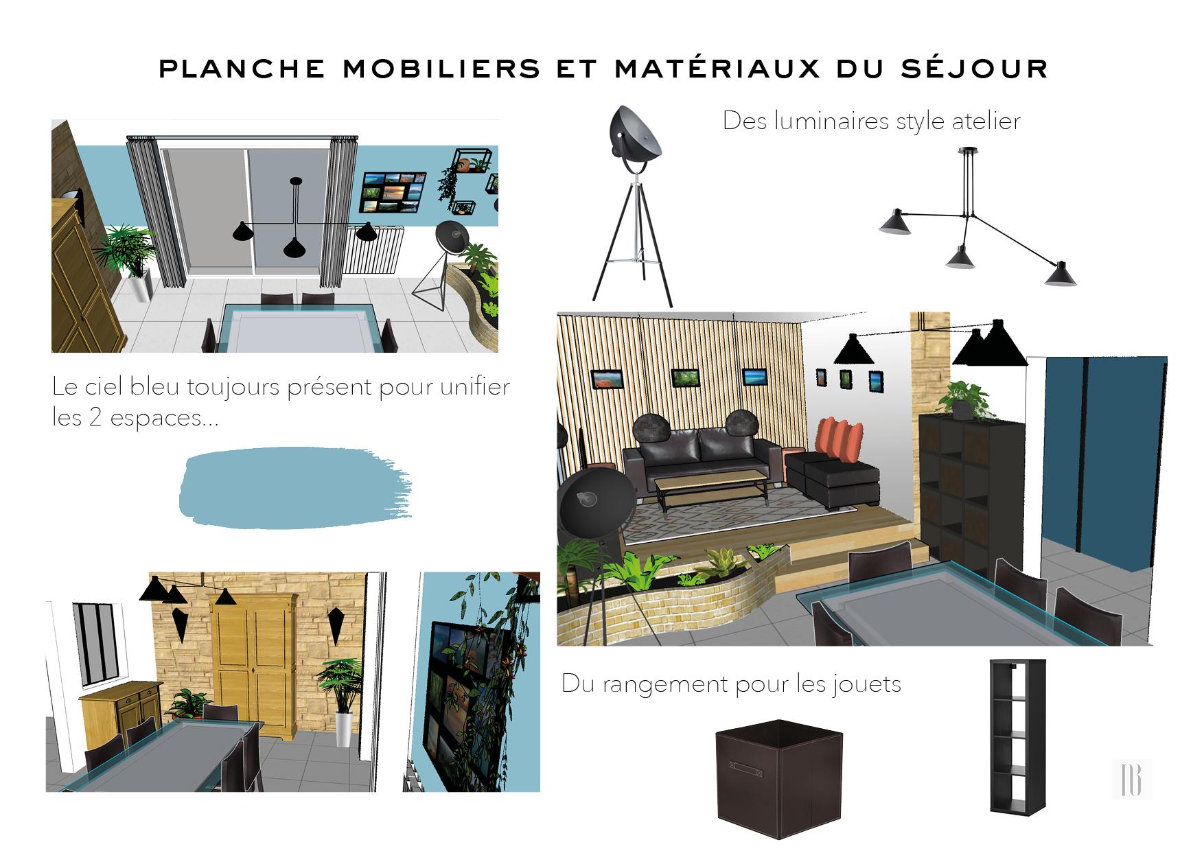 Nathalie Bossard décoration architecture intérieur Rennes 35 UFDI-390 Book déco maison individuelle Vern sur Seiche Ille et Vilaine planche mobiliers et matériaux séjour