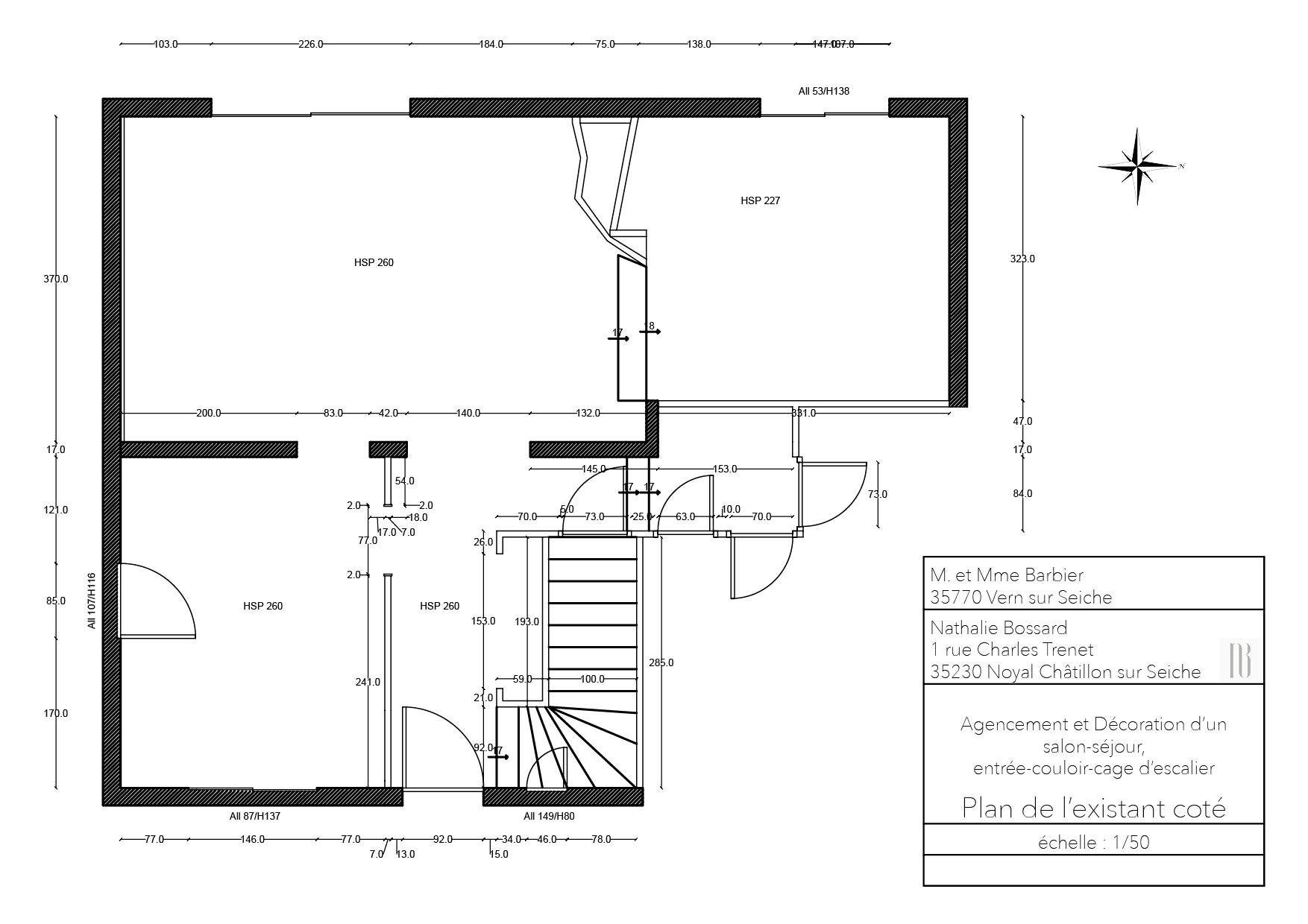 Nathalie Bossard décoration architecture intérieur Rennes 35 UFDI-390 Book déco maison individuelle Vern sur Seiche Ille et Vilaine plan existant coté