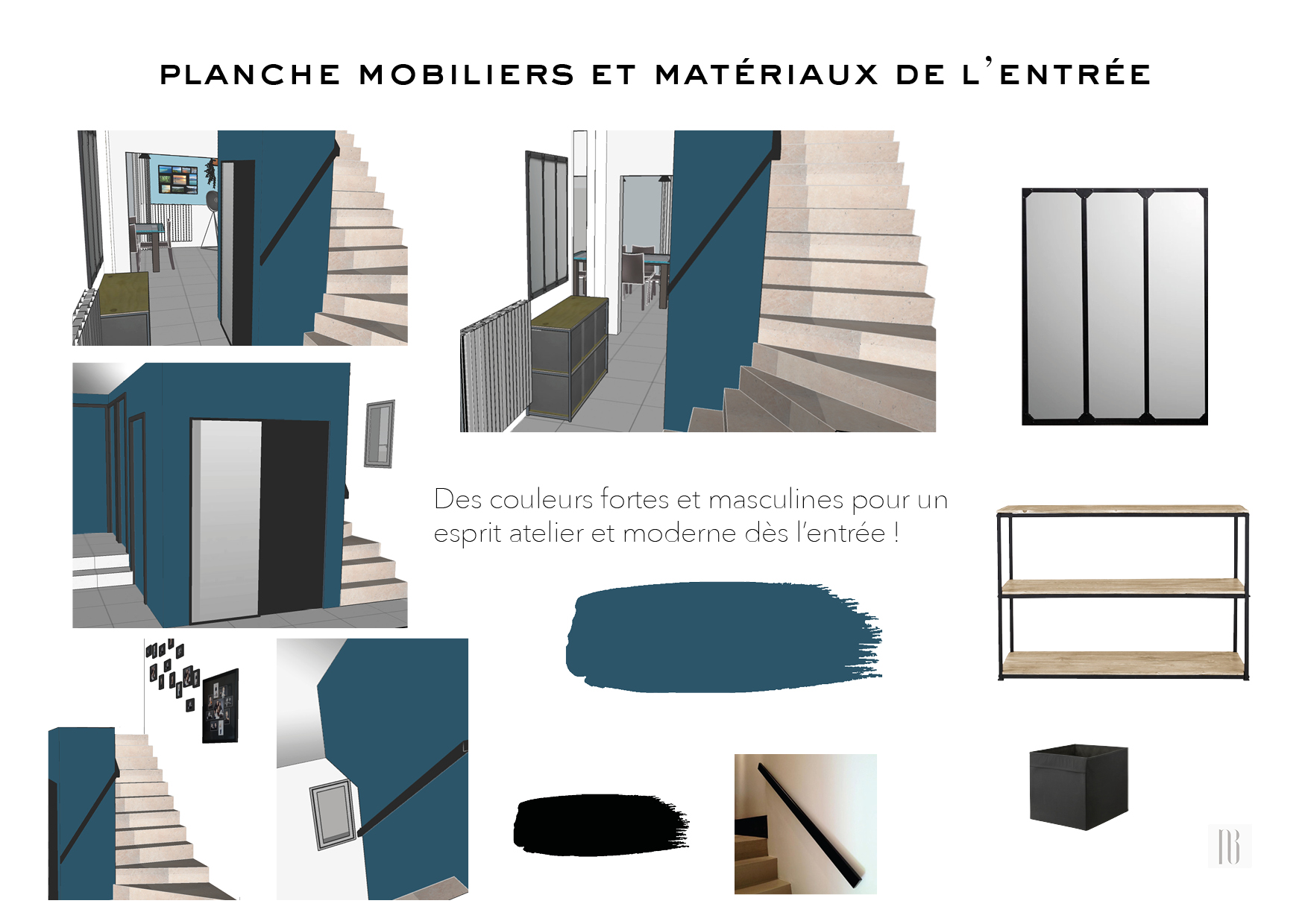 Nathalie Bossard décoration architecture intérieur Rennes 35 UFDI-390 Book déco maison individuelle Vern sur Seiche Ille et Vilaine planche mobiliers et matériaux entrée