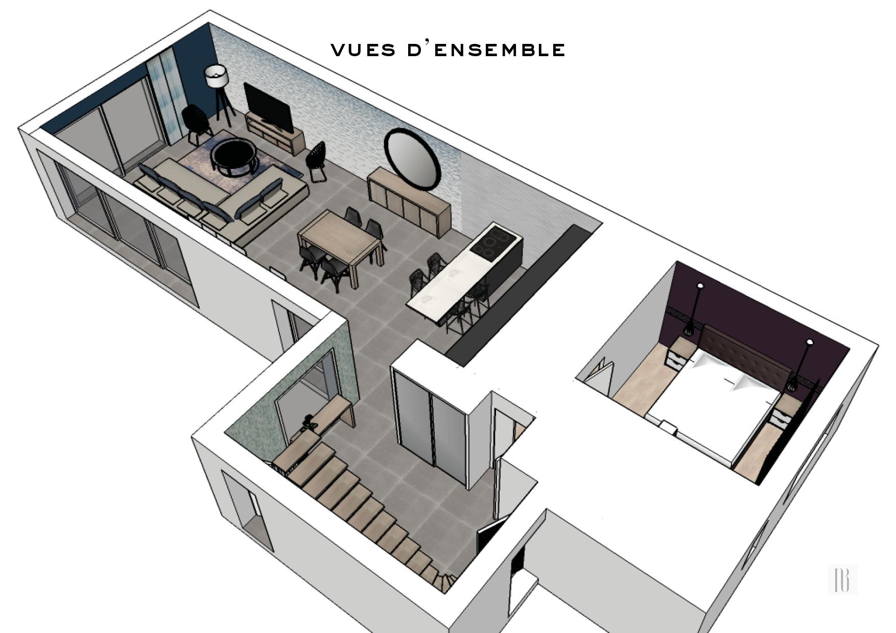 Conception déco du rez-de-chaussée d'une maison en construction - Bedée (35)