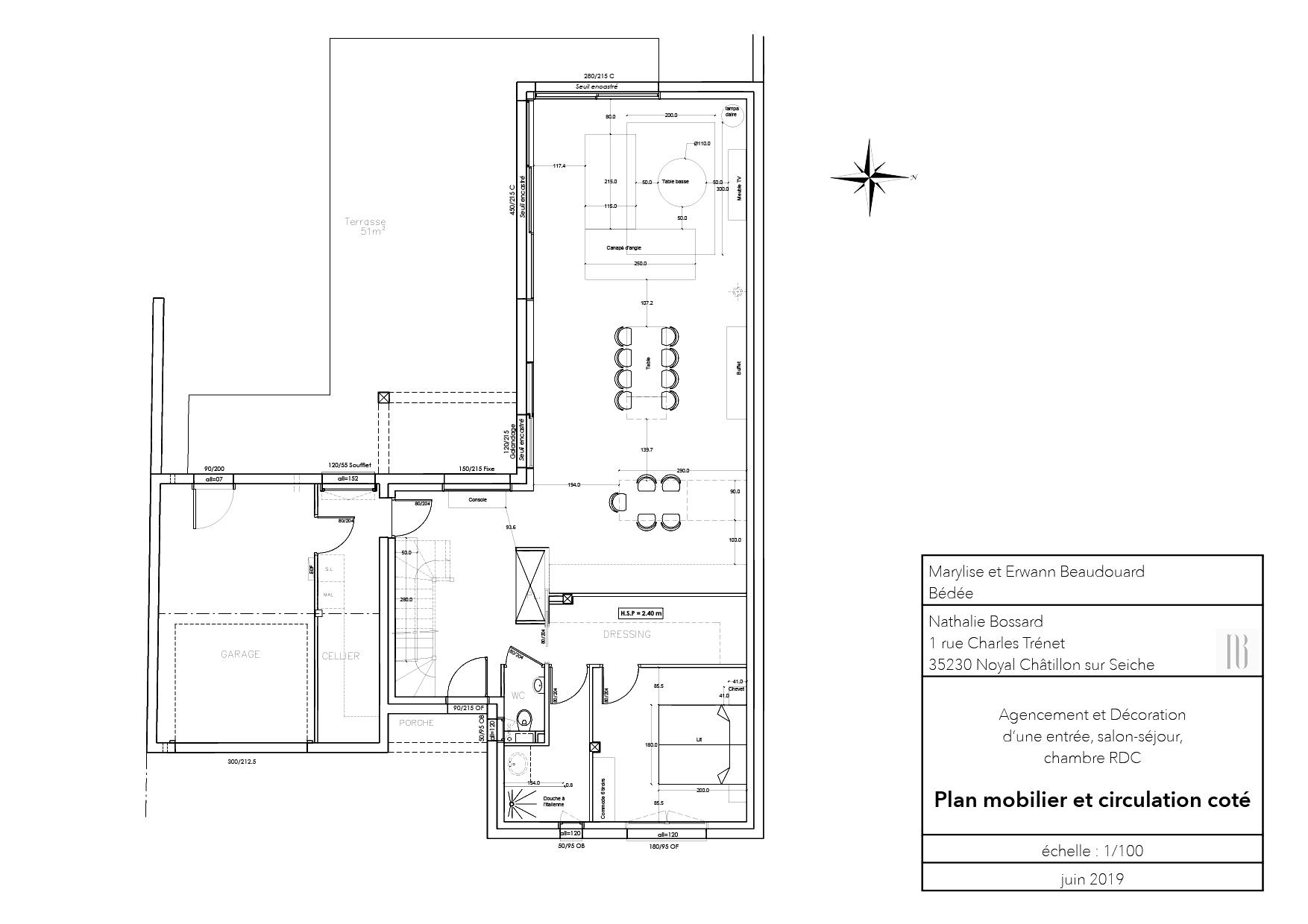 Nathalie Bossard décoration architecture intérieur Rennes 35 UFDI-390 Book déco maison en construction Bédée Ille et vilaine plan agencement mobilier circulation