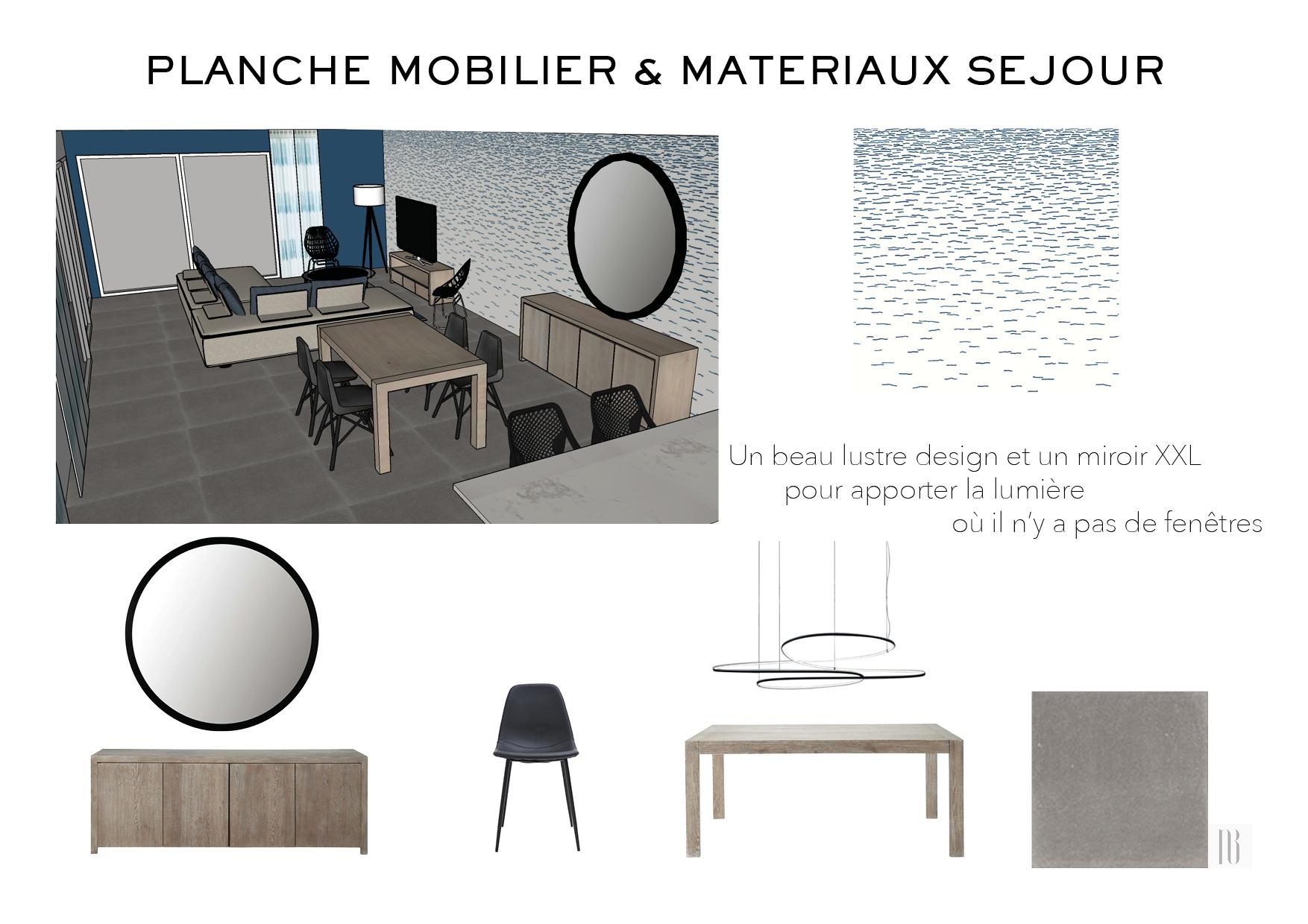 Nathalie Bossard décoration architecture intérieur Rennes 35 UFDI-390 Book déco maison en construction Bédée Ille et vilaine planche mobilier et matériaux séjour