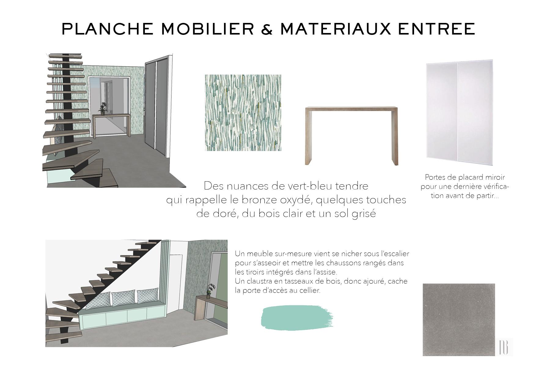 Nathalie Bossard décoration architecture intérieur Rennes 35 UFDI-390 Book déco maison en construction Bédée Ille et vilaine planche mobilier et matériaux entrée