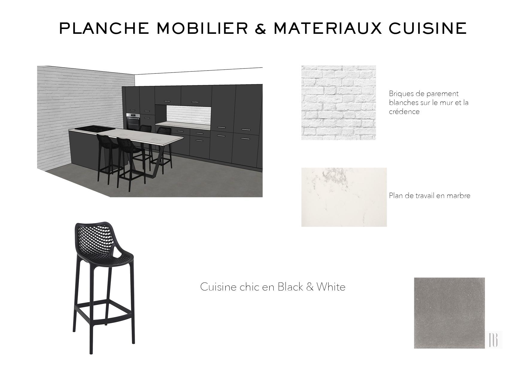 Nathalie Bossard décoration architecture intérieur Rennes 35 UFDI-390 Book déco maison en construction Bédée Ille et vilaine planche mobilier et matériaux cuisine