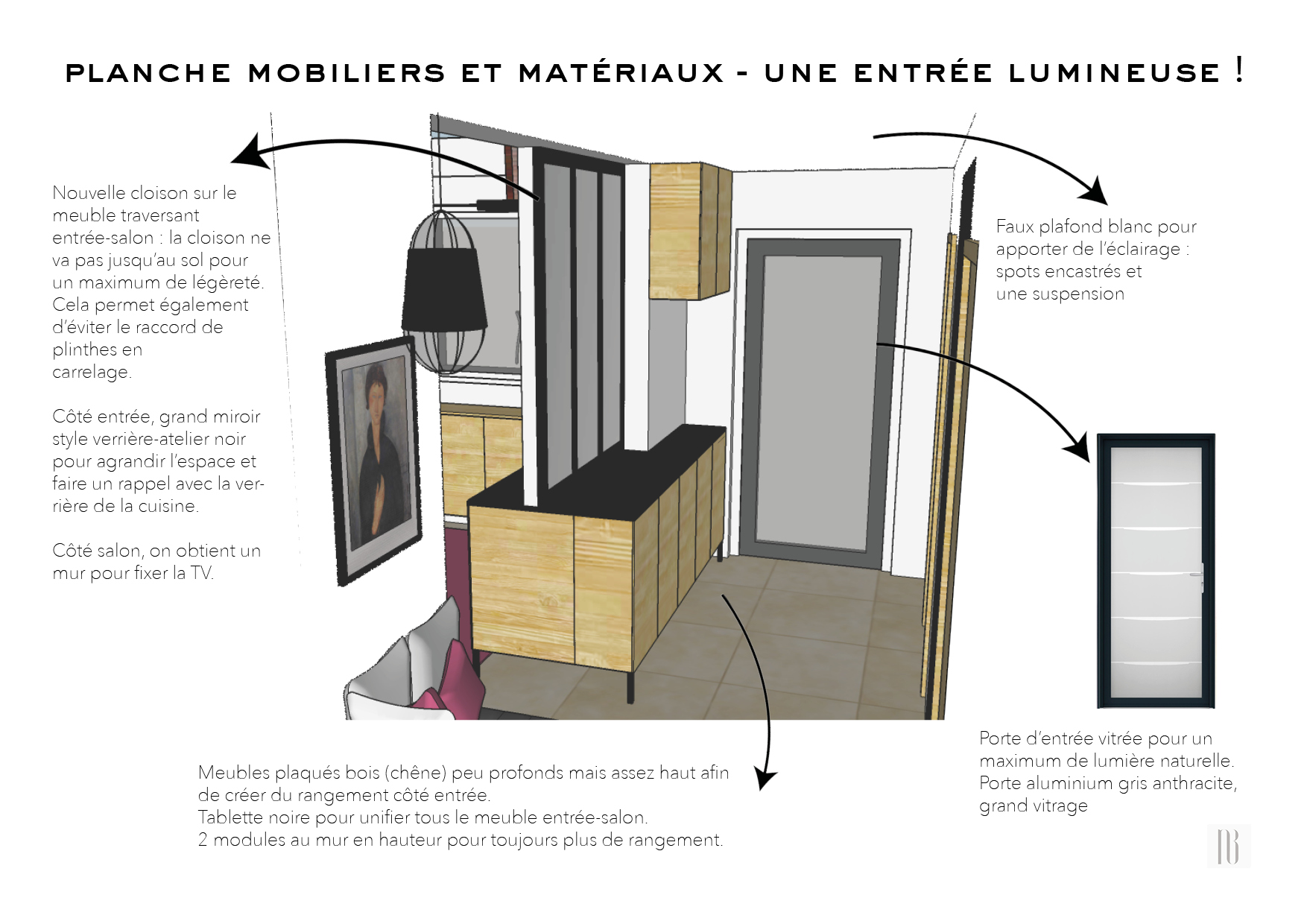Nathalie Bossard décoration architecture intérieur Rennes 35 UFDI-390 Book déco maison individuelle bretagne sud 2019 planche mobilier et matériaux entrée lumineuse