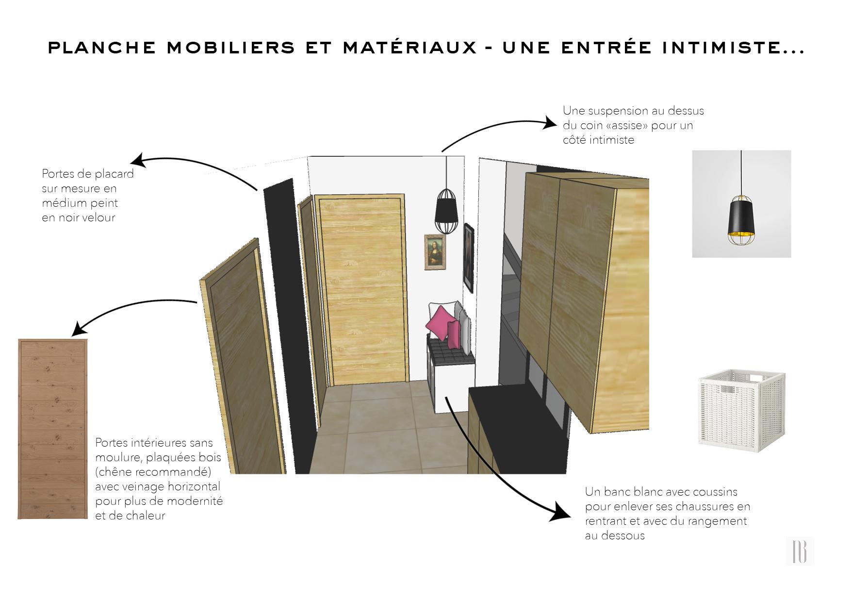 Nathalie Bossard décoration architecture intérieur Rennes 35 UFDI-390 Book déco maison individuelle bretagne sud 2019 planche mobilier et matériaux entrée intimiste