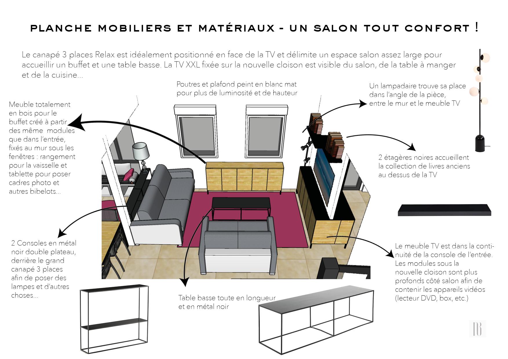 Nathalie Bossard décoration architecture intérieur Rennes 35 UFDI-390 Book déco maison individuelle bretagne sud 2019 planche mobilier et matériaux salon confort