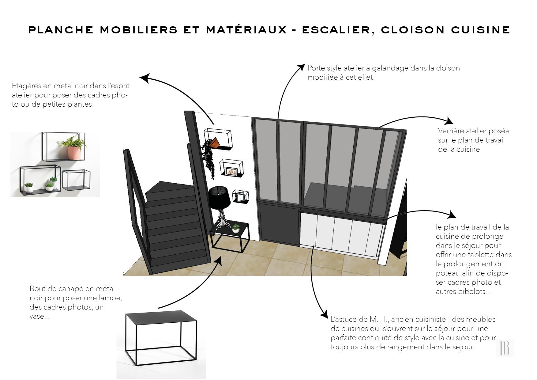 Nathalie Bossard décoration architecture intérieur Rennes 35 UFDI-390 Book déco maison individuelle bretagne sud 2019 planche mobilier et matériaux escalier cloison atelier