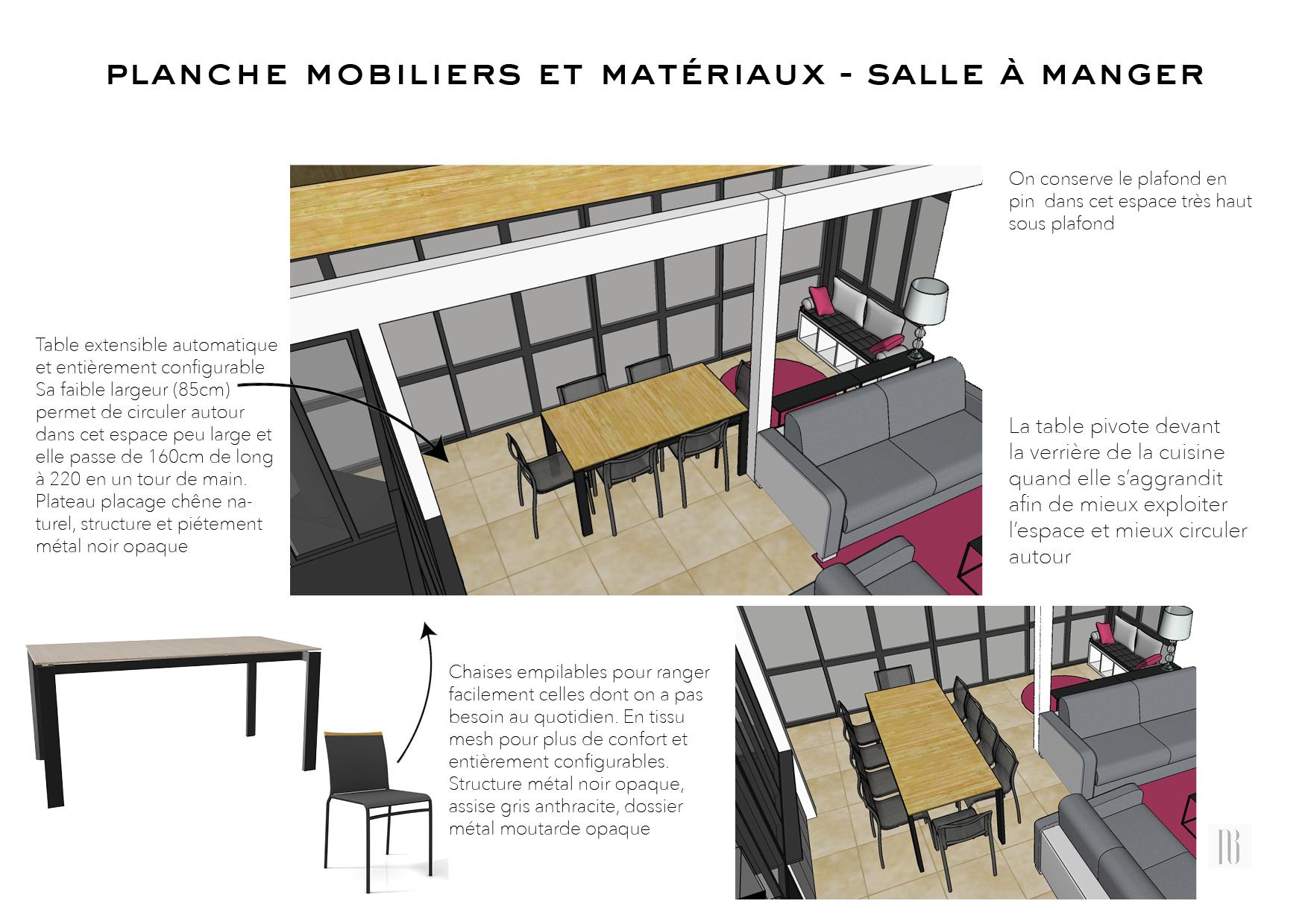 Nathalie Bossard décoration architecture intérieur Rennes 35 UFDI-390 Book déco maison individuelle bretagne sud 2019 planche mobilier et matériaux salle à manger