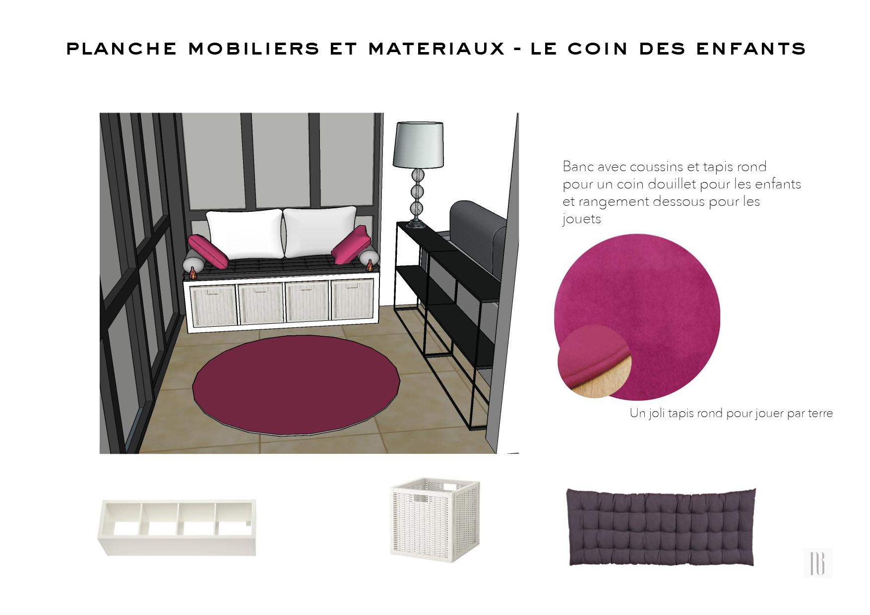 Nathalie Bossard décoration architecture intérieur Rennes 35 UFDI-390 Book déco maison individuelle bretagne sud 2019 planche mobilier et matériaux coin enfants