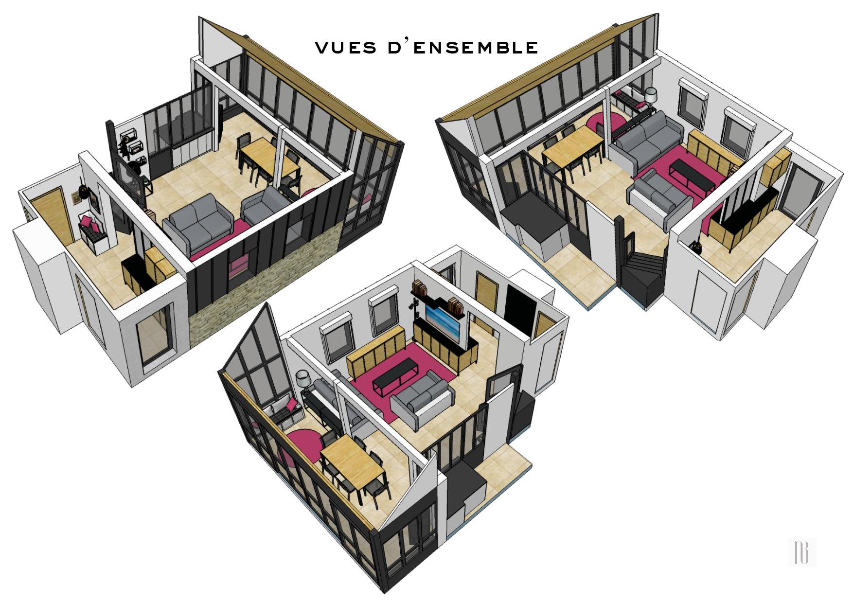 Nathalie Bossard décoration architecture intérieur Rennes 35 UFDI-390 Book déco maison individuelle bretagne sud 2019 planche mobilier et matériaux entrée lumineuse 3D