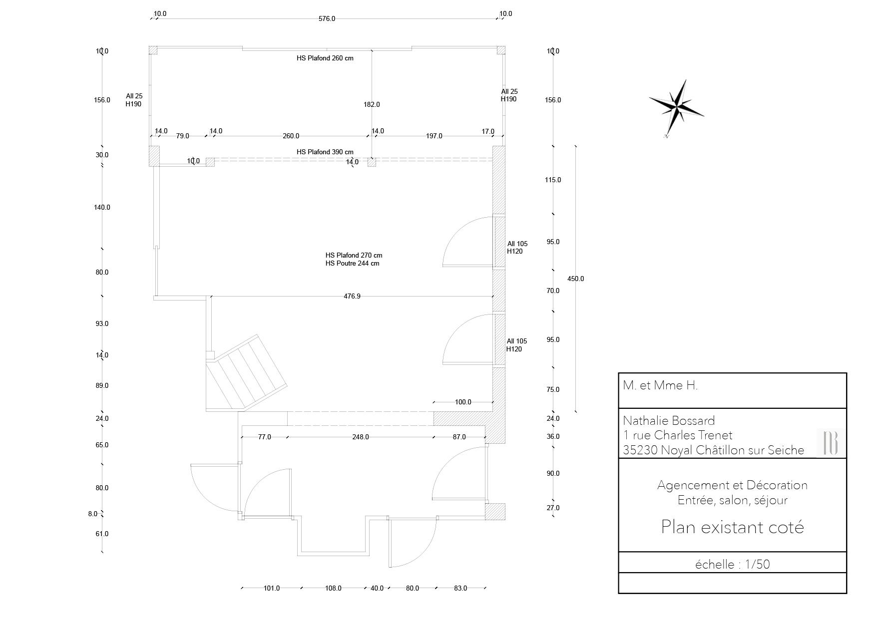 Nathalie Bossard décoration architecture intérieur Rennes 35 UFDI-390 Book déco maison individuelle bretagne sud 2019 plan existant coté